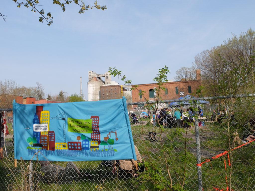 Occupation du terrain vacant Lantic, à Hochelaga-Maisonneuve, à Montréal (photo : Céline Magontier).